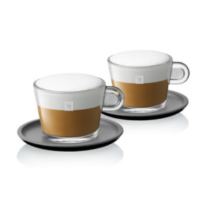 Glass Cappuccino Cups & Black Saucer X 2