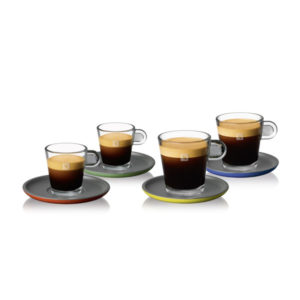 ESPRESSO & LUNGO CUP WITH COLOR SCER SET (4PC)